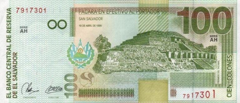 100 colonów salwadorskich SVC rewers