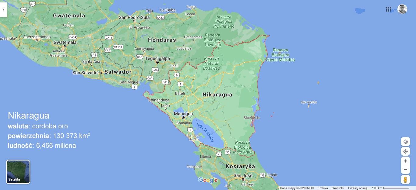 Nikaragua na mapie
